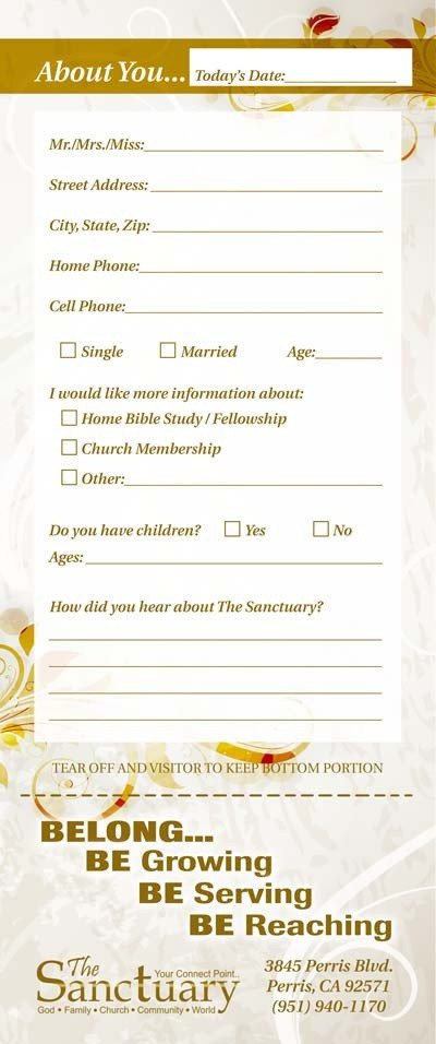 Church Visitor Card Template Word Church Guest Card Back