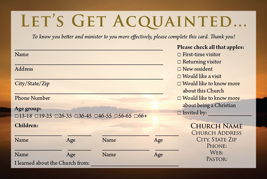 Church Visitor Card Template Word Church Visitor Information Card Template