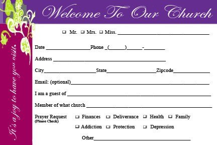 Church Visitor Card Template Word Ckd