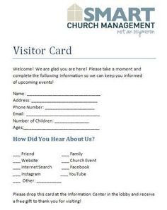 Church Visitor Card Template Word Download This Visitor Card Click the Link Below Church
