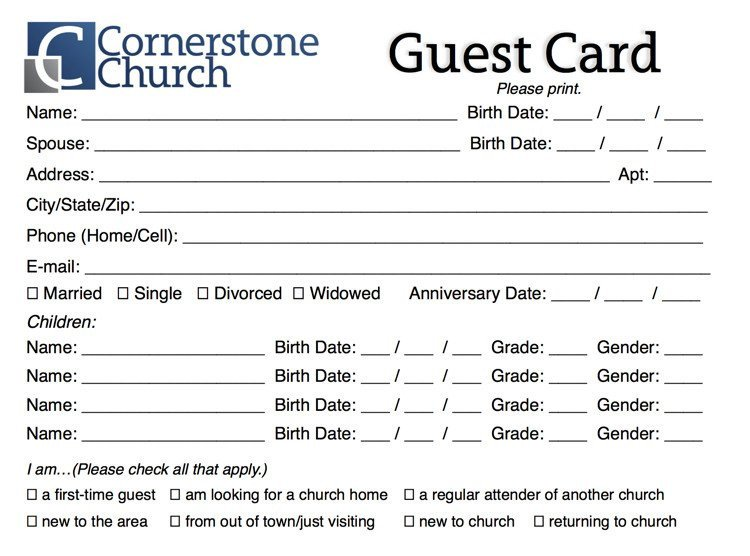 Church Visitor Card Template Word Free Church Guest Card Template Churchmag