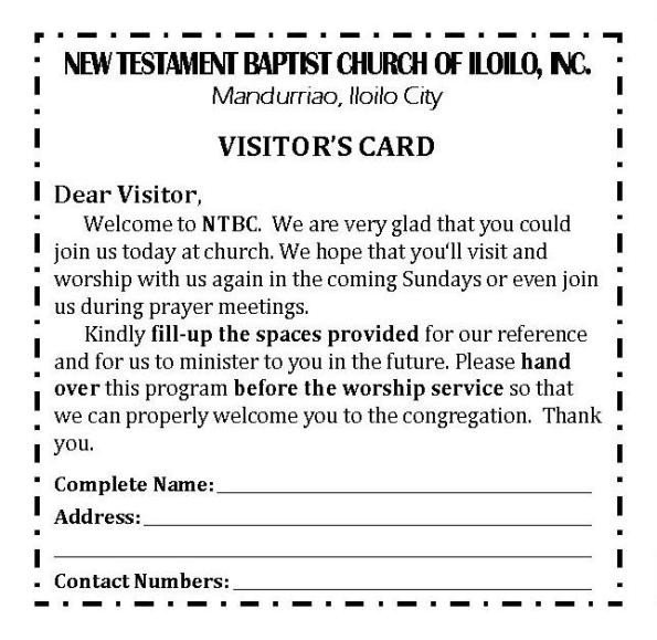 Church Visitor Card Template Word Ntbc forms
