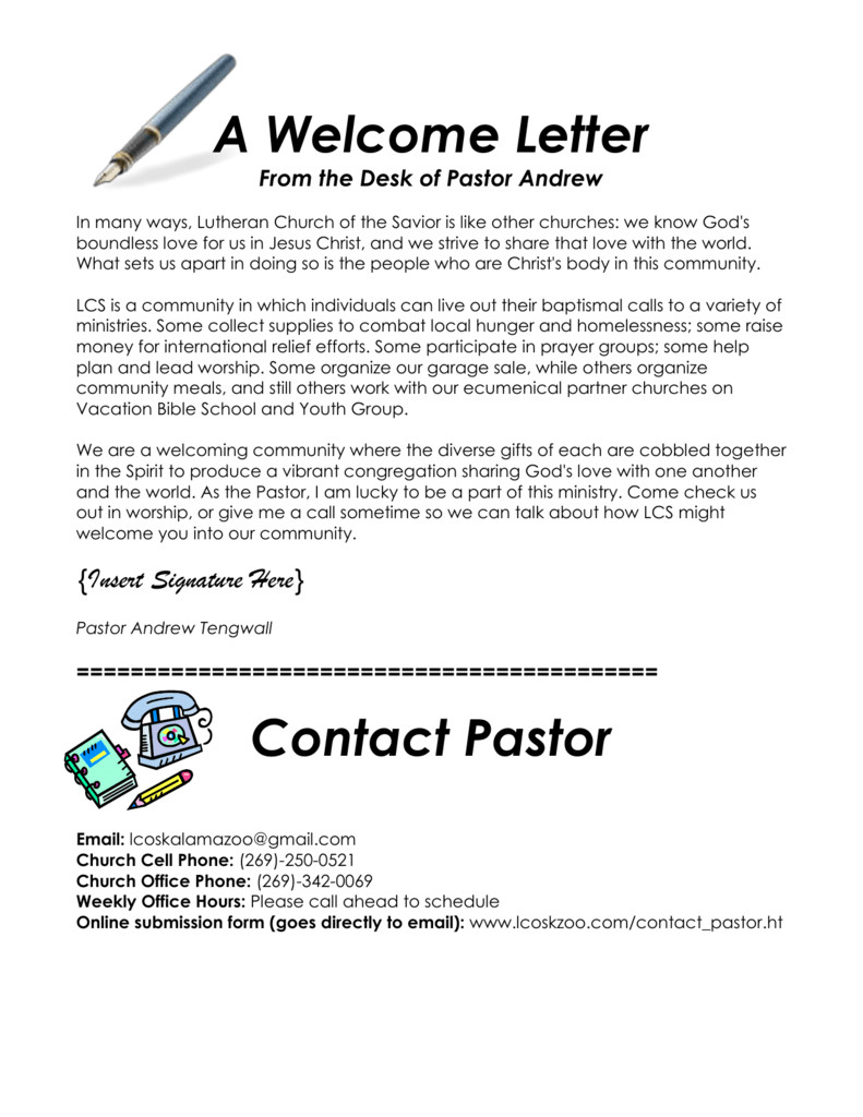 Church Welcome Letter Template Church Visitor Wel E Letter