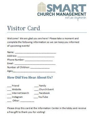 Church Welcome Letter Template Downloadable Church forms