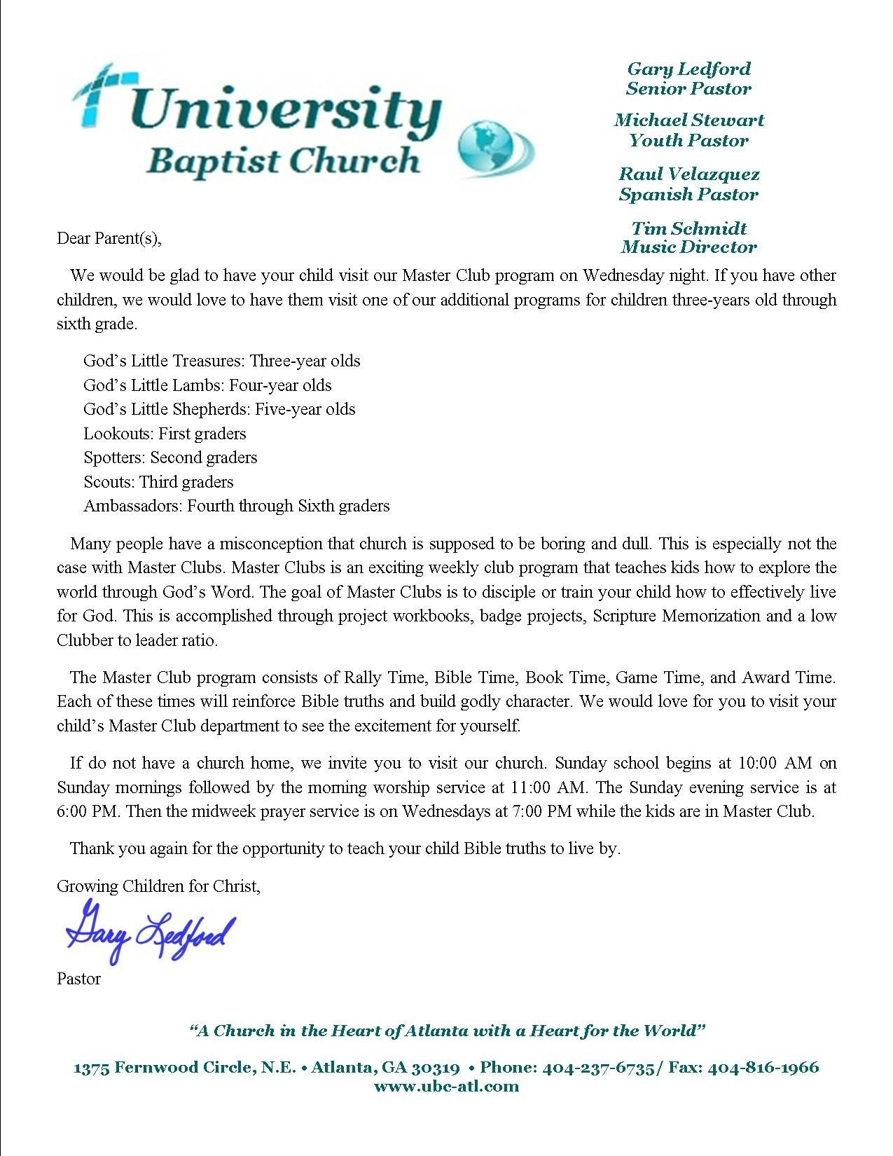 Church Welcome Letter Template Sample Church Wel E Letter