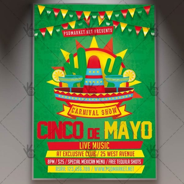 Cinco De Mayo Flyer Cinco De Mayo Night Premium Flyer Psd Template