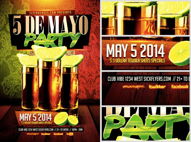Cinco De Mayo Flyer Cinco De Mayo Party Flyer Template Flyerheroes