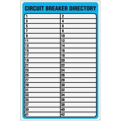 Circuit Breaker Directory Template Circuit Breaker Directory Template