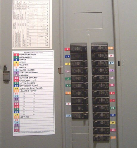 Circuit Breaker Panel Label Template Magnetic and Color Coded 30 & 11 Circuit Breaker Box