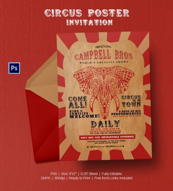 Circus Invitation Template Free Circus Party Invitation Template 22 Free Jpg Psd
