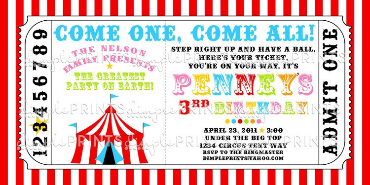 Circus Invitation Template Free Circus Tent Ticket Printable Invitation Dimple Prints Shop