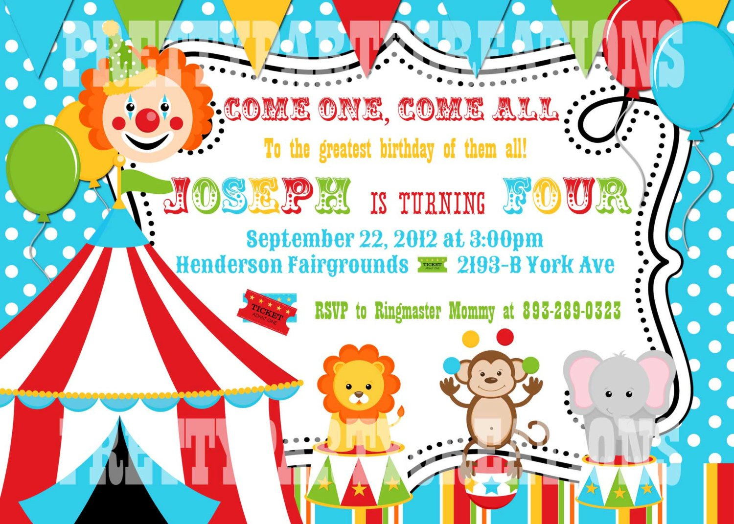 Circus Invitation Template Free Colorful Circus Birthday Invitation You Print Digital File