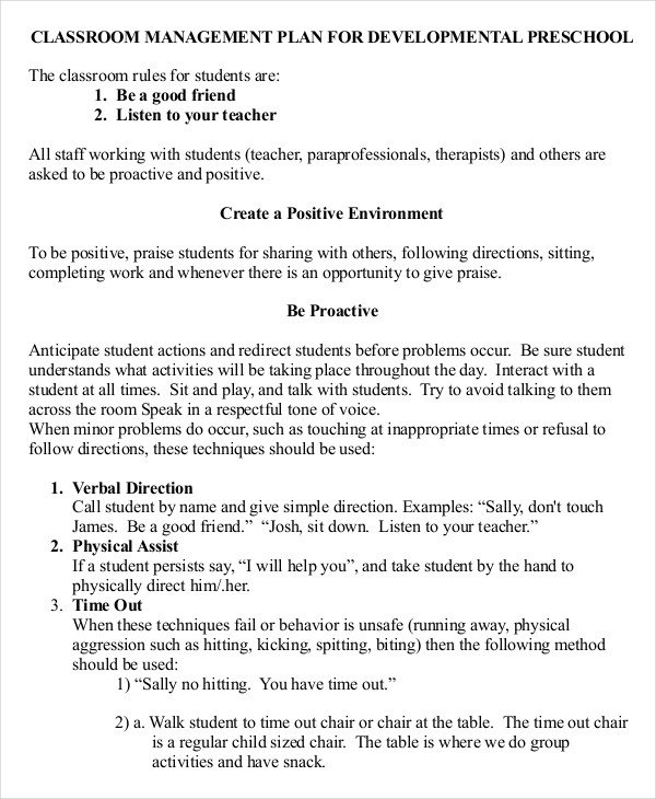 Classroom Management Plan Template 11 Classroom Management Plan Templates Free Pdf Word