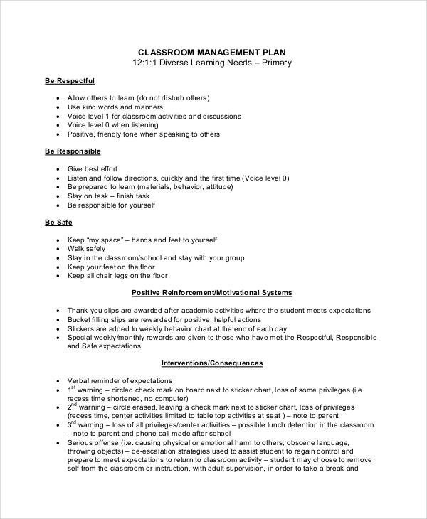 Classroom Management Plan Template Sample Classroom Management Plan Template 12 Free