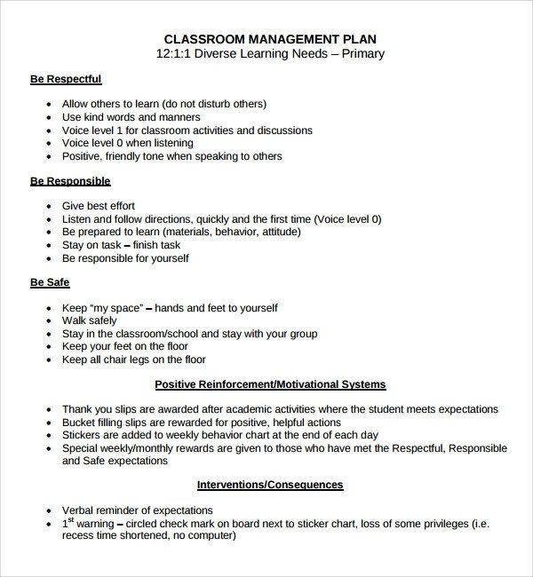 Classroom Management Plan Template Sample Classroom Management Plan Template 9 Free