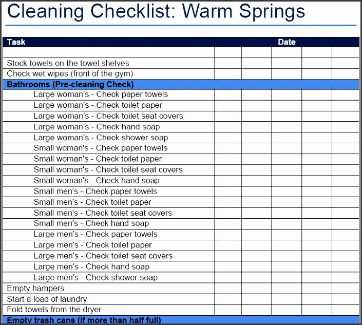 Cleaning Checklist Template Excel 10 Cleaning Checklist Template Sampletemplatess