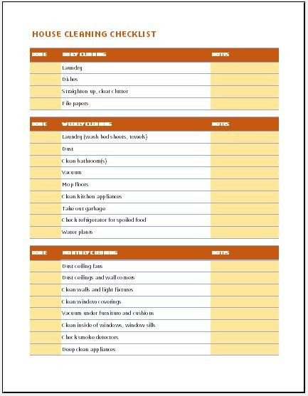 Cleaning Checklist Template Excel Daily Weekly & Monthly House Cleaning Checklist