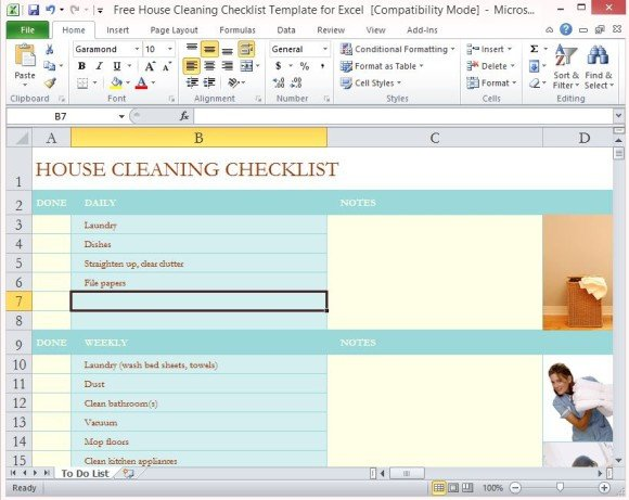 Cleaning Checklist Template Excel Free House Cleaning Checklist Template for Excel