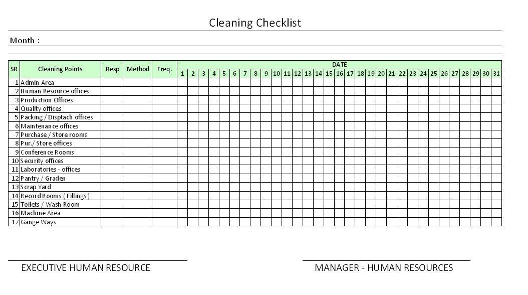 Cleaning Checklist Template Excel Housekeeping Checklist format for Fice In Excel