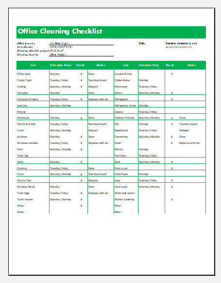 Cleaning Checklist Template Excel Mercial Fice Cleaning Checklist Template