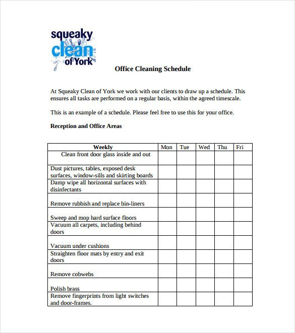 Cleaning Schedule Template for Office 20 Bathroom Cleaning Schedule Templates Pdf Doc