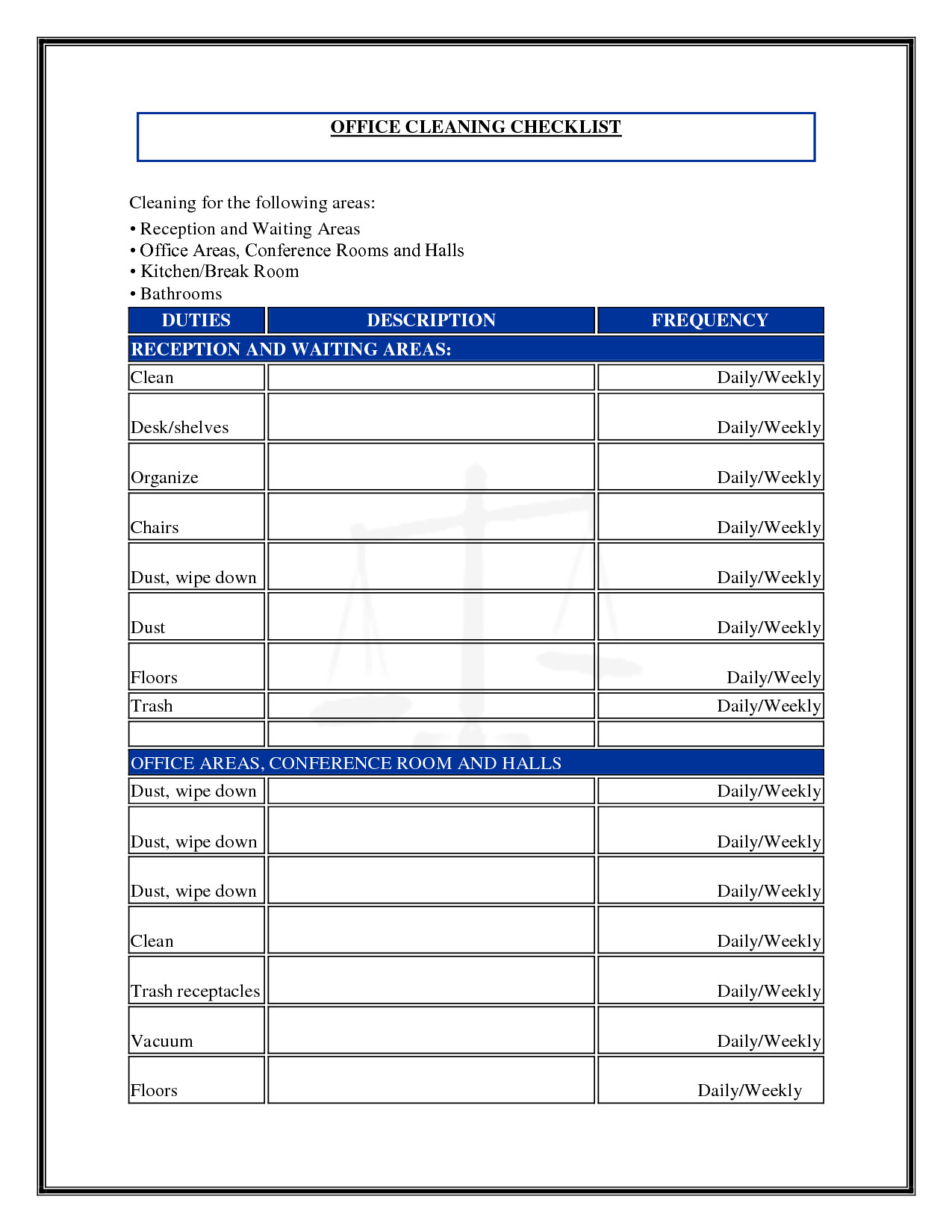 Cleaning Schedule Template for Office 7 Best Of Mercial Cleaning Checklist Printable