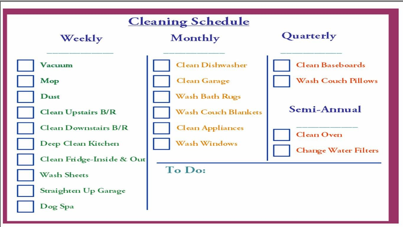 Cleaning Schedule Template for Office Cleaning