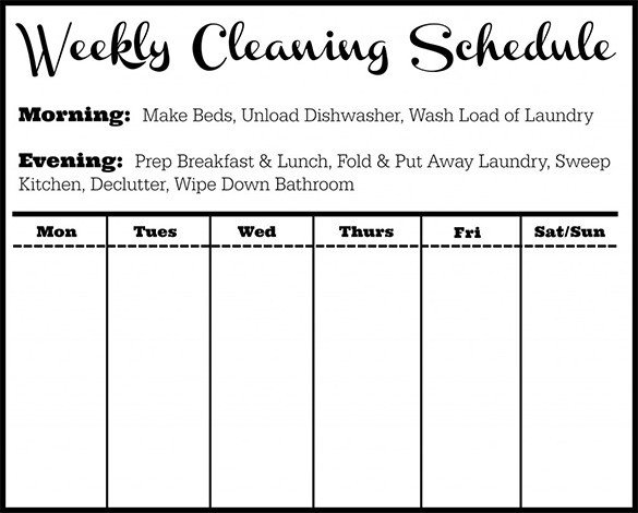 Cleaning Schedule Template for Office Cleaning Schedule Template 25 Free Sample Example