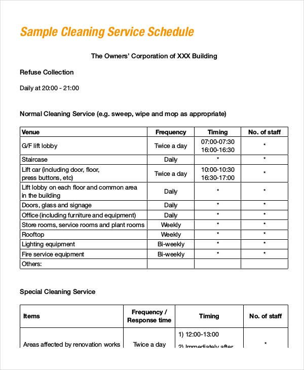 Cleaning Schedule Template for Office Fice Cleaning Schedule Template 11 Free Word Pdf