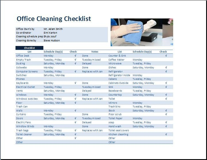 Cleaning Schedule Template for Office Mercial Fice Cleaning Checklist Template