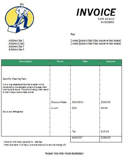 Cleaning Services Invoice Template Cleaning Invoice form Printable