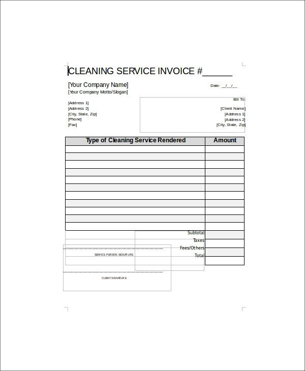 Cleaning Services Invoice Template Sample Cleaning Service Receipt 5 Examples In Word Pdf