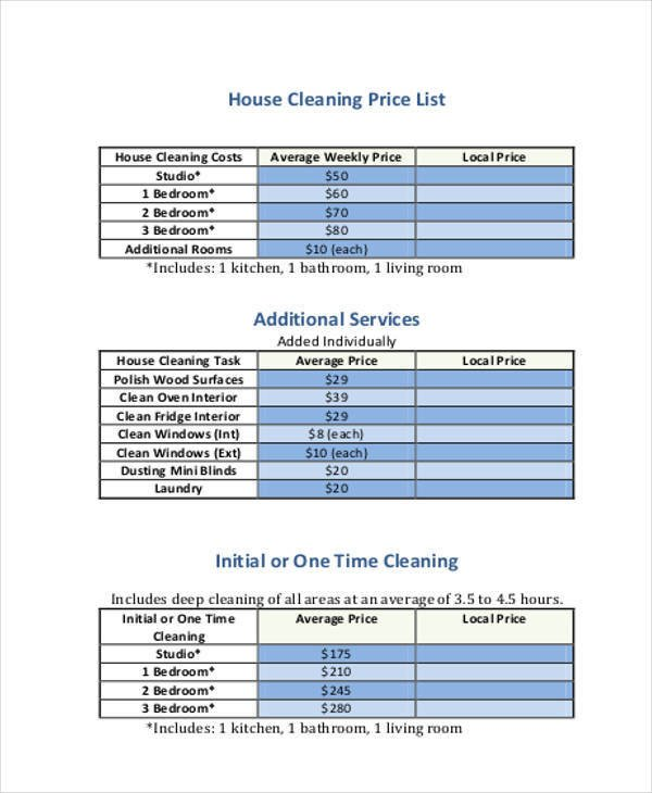 Cleaning Services Price List Template 19 Price List Samples In Pdf