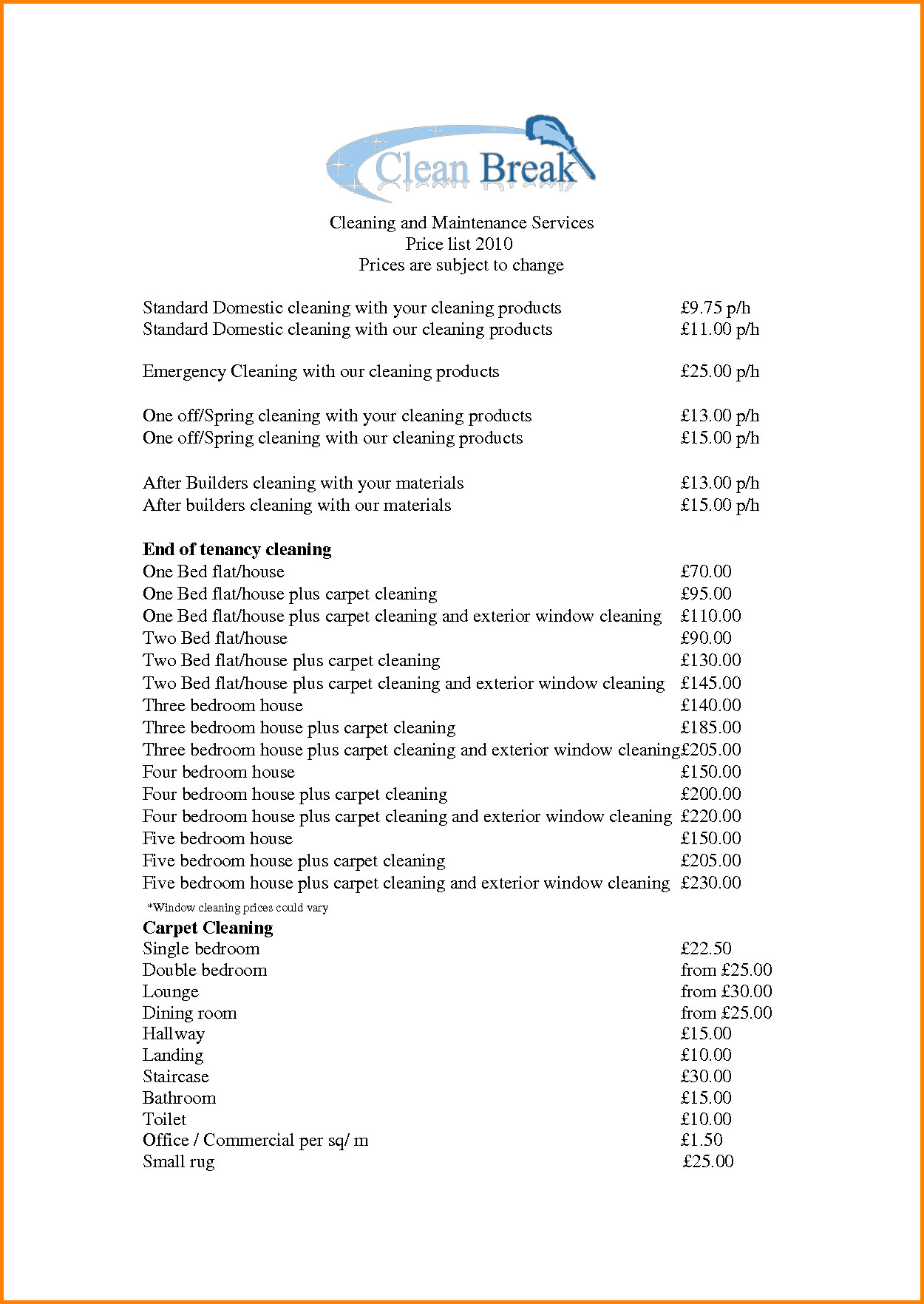 Cleaning Services Price List Template 7 Maid Service Price List