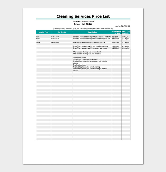 Cleaning Services Price List Template Cleaning Price List Template 12 In Word Pdf format