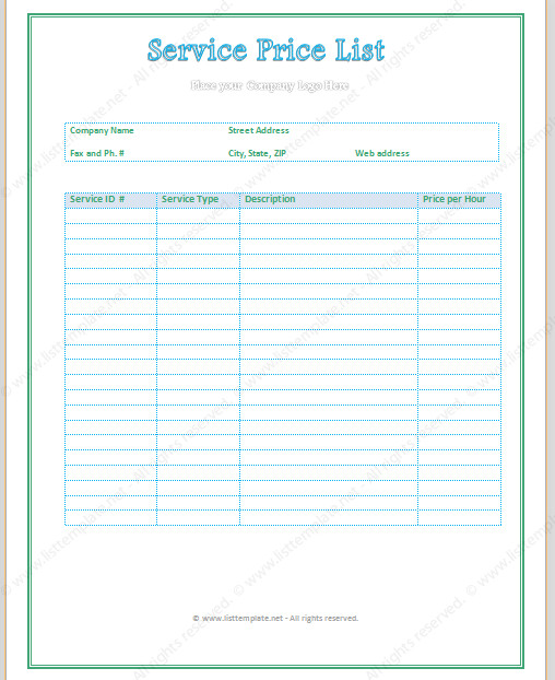 Cleaning Services Price List Template Free Printable Price List Templates
