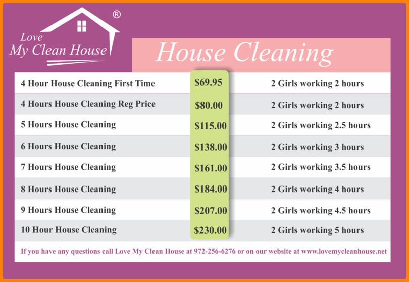 Cleaning Services Price List Template House Cleaning Services Prices List
