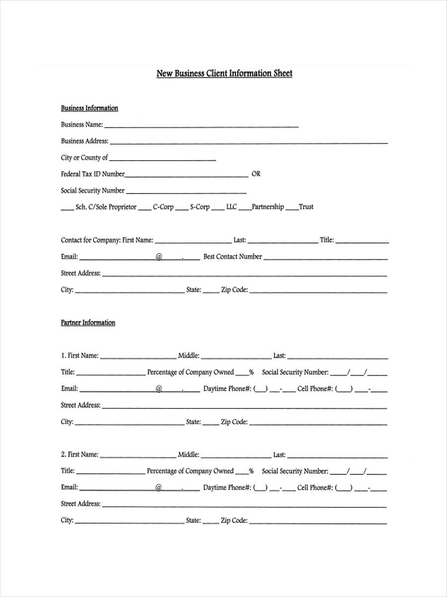 Client Information Sheet Template 13 Examples Of Client Information Sheets