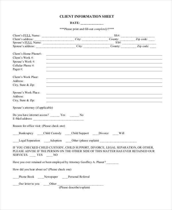 Client Information Sheet Template 45 Printable Sheet Samples & Templates Pdf Doc