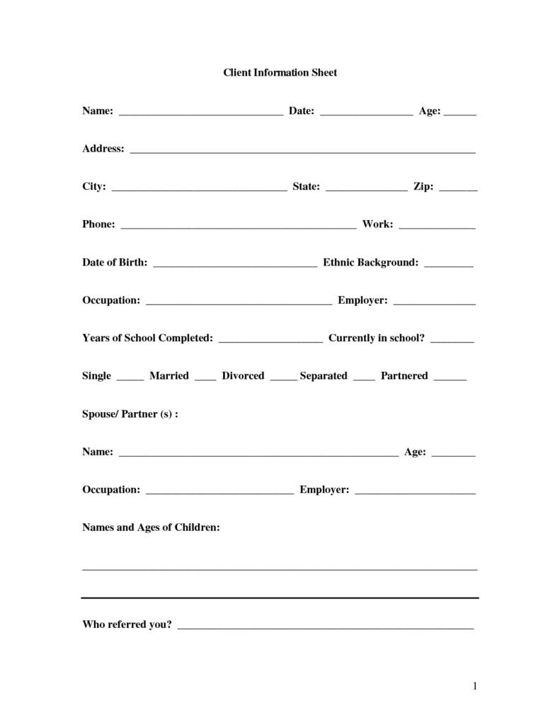 Client Information Sheet Template 8 Client Information Sheet Templates Word Excel Pdf formats