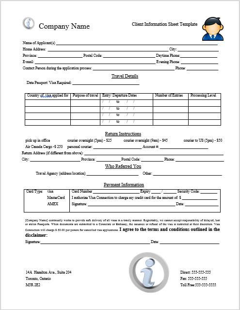 Client Information Sheet Template Client Information Sheet Template