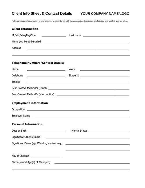 Client Information Sheet Template Wel E Pack toolkit