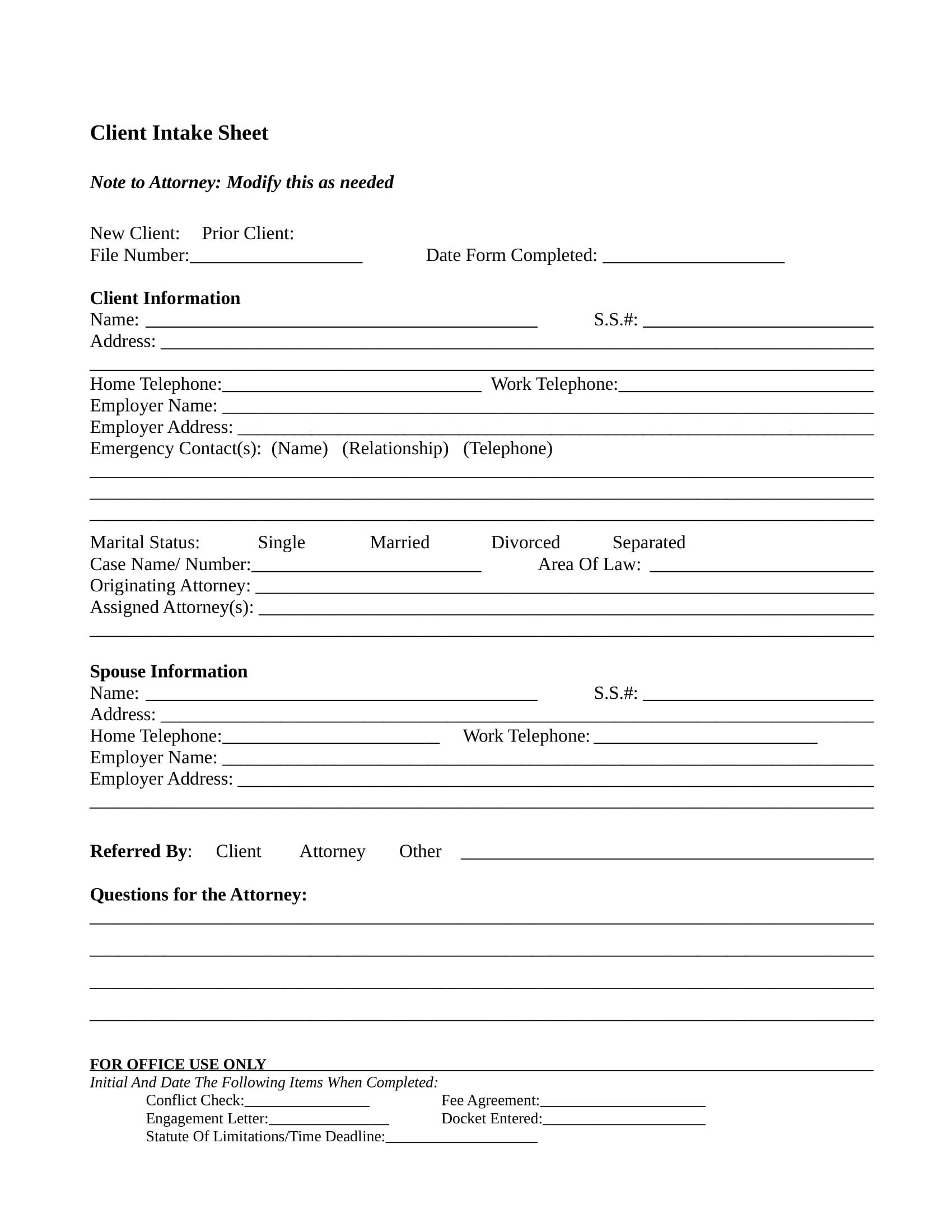 Client Intake form Template 13 Client Intake forms Pdf Doc