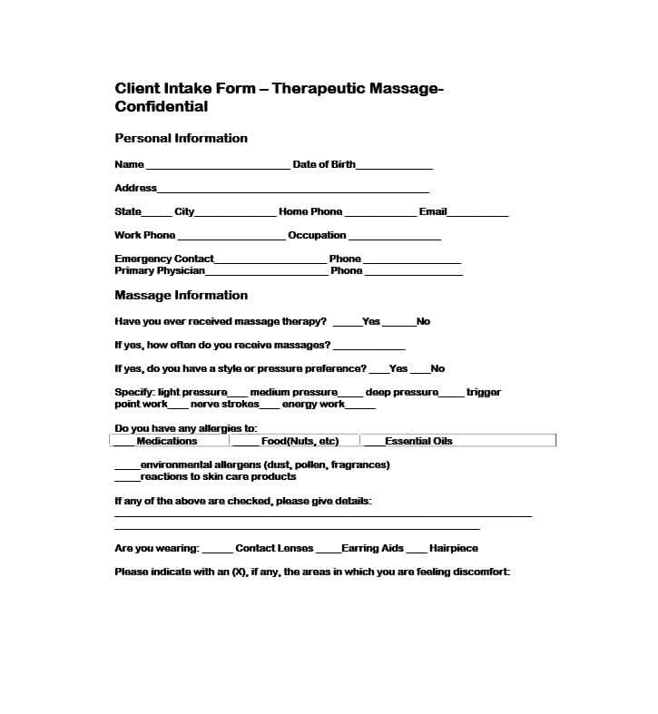 Client Intake form Template 59 Best Massage Intake forms for Any Client Printable