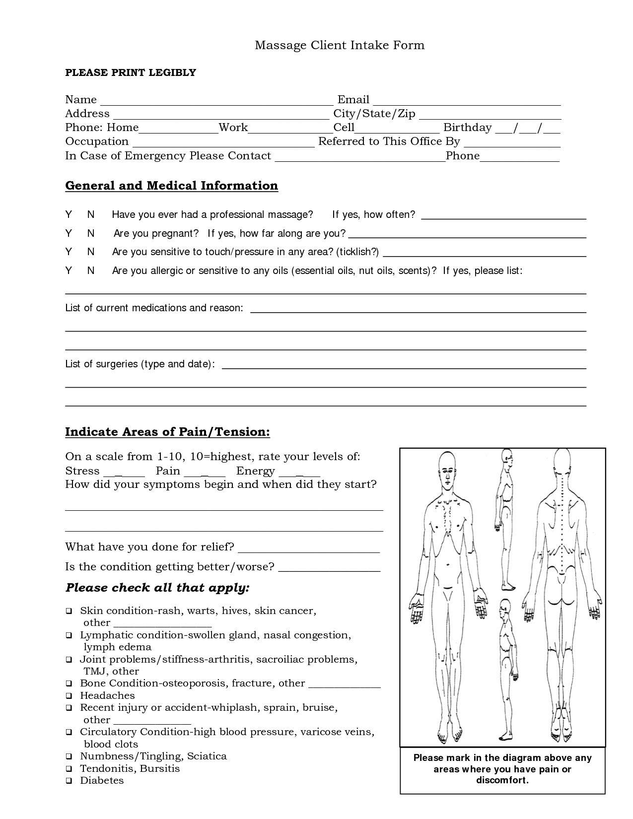 Client Intake form Template Free Massage Intake forms