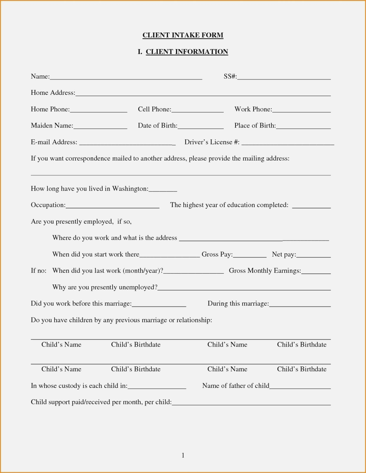 Client Intake form Template How to Leave Client Intake