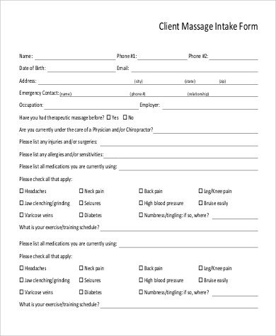 Client Intake form Template Sample Massage Intake form 9 Examples In Word Pdf