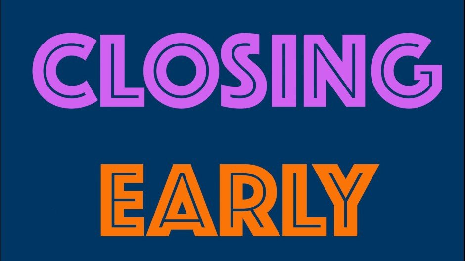 Closing Early Sign Template Closing Early 3 14 – Vélocity Bicycle Cooperative