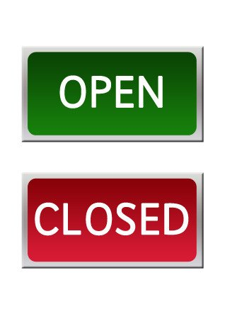 Closing Early Sign Template Open and Closed Role Play Signs