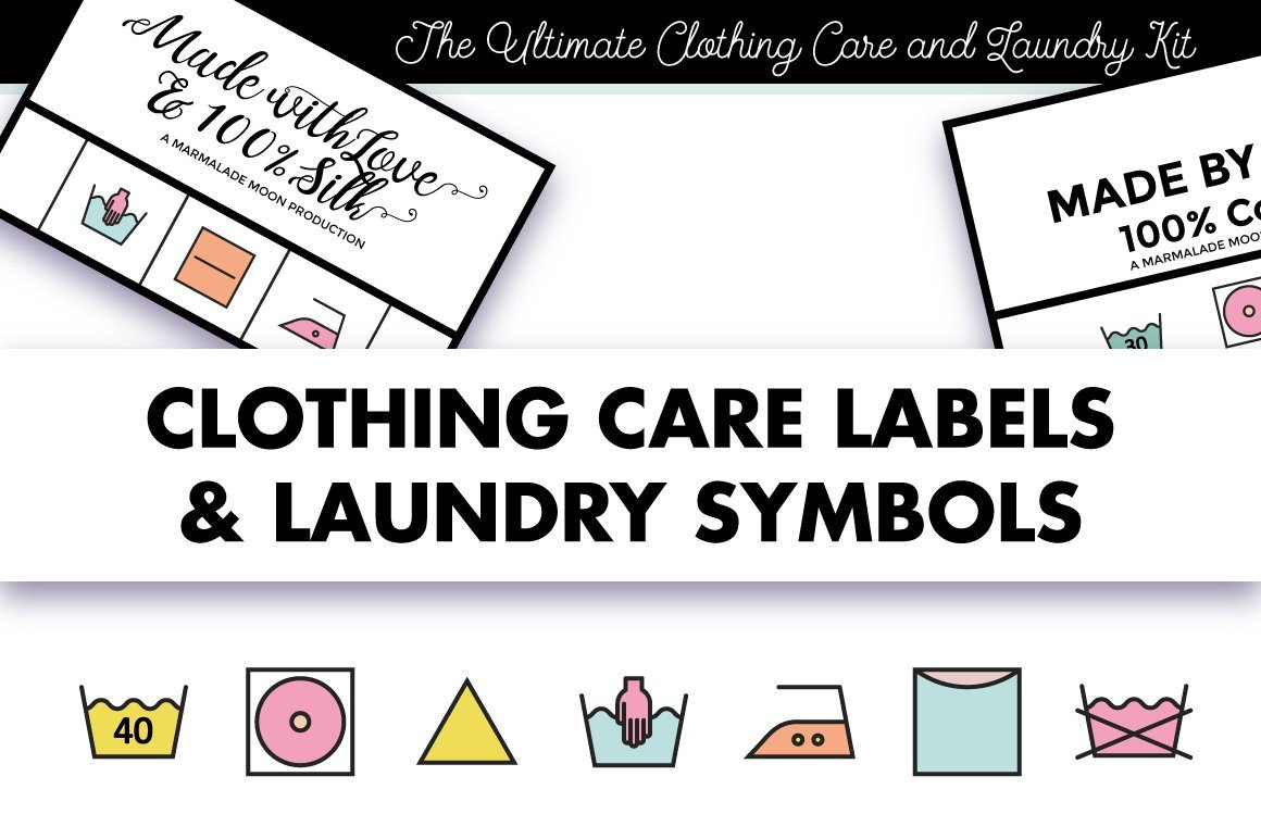 Clothing Care Label Template Clothing Labels and Laundry Symbols Icons Creative Market
